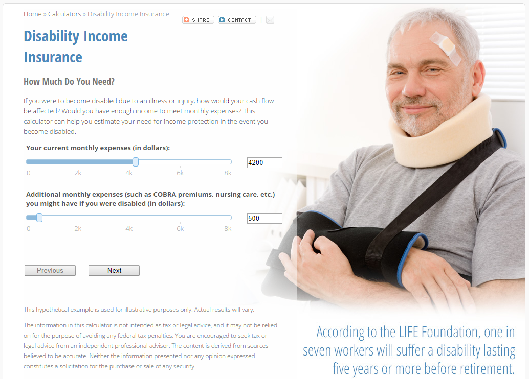 Disability Insurance Payment Calculator