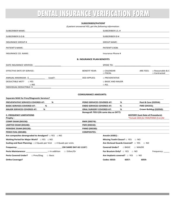 FREE 4+ Dental Insurance Verification Forms in PDF