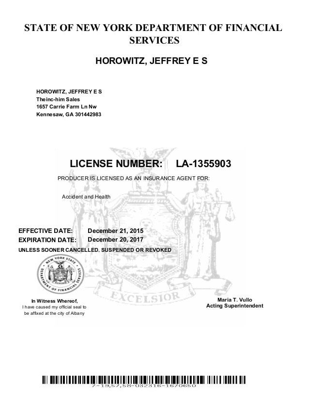 New York Life And Health Insurance License